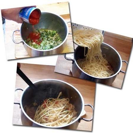 Espaguetis con cebolleta y guindilla. pasos