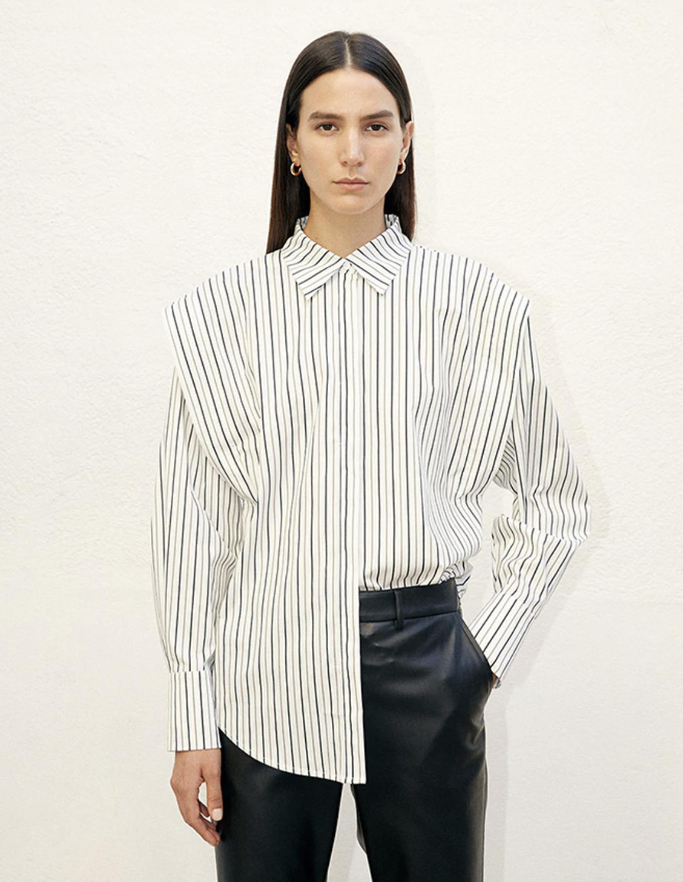 Camisa de manga larga de mujer de rayas