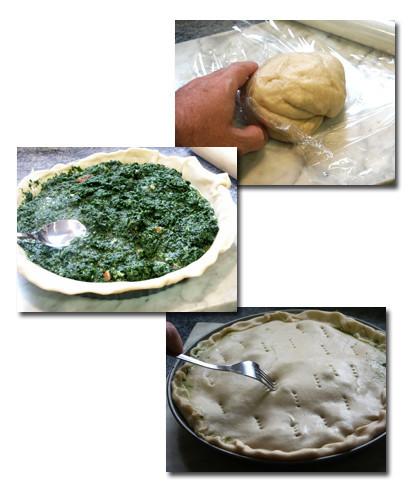 torta de espinacas y parmesano pasos