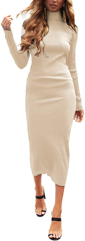 Auxo Mujer Vestido de Punto Cuello Alto Suéter Larga Elegante Clásico Jerséy Otoño Invierno Casual Fiesta Cóctel Noche