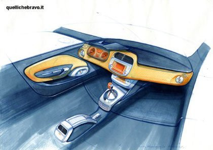 Bocetos del interior del Fiat Bravo
