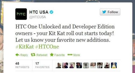 Hoy disponible Android 4.4 para HTC One Desbloqueado y Developer Edition