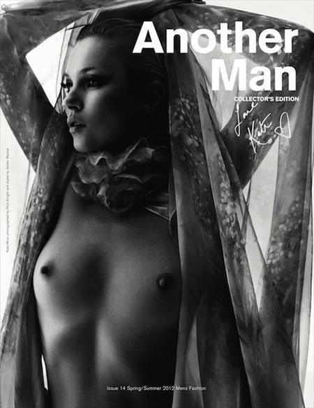 Kate Moss luciendo pezones (y qué pezones) para la revista Another Man