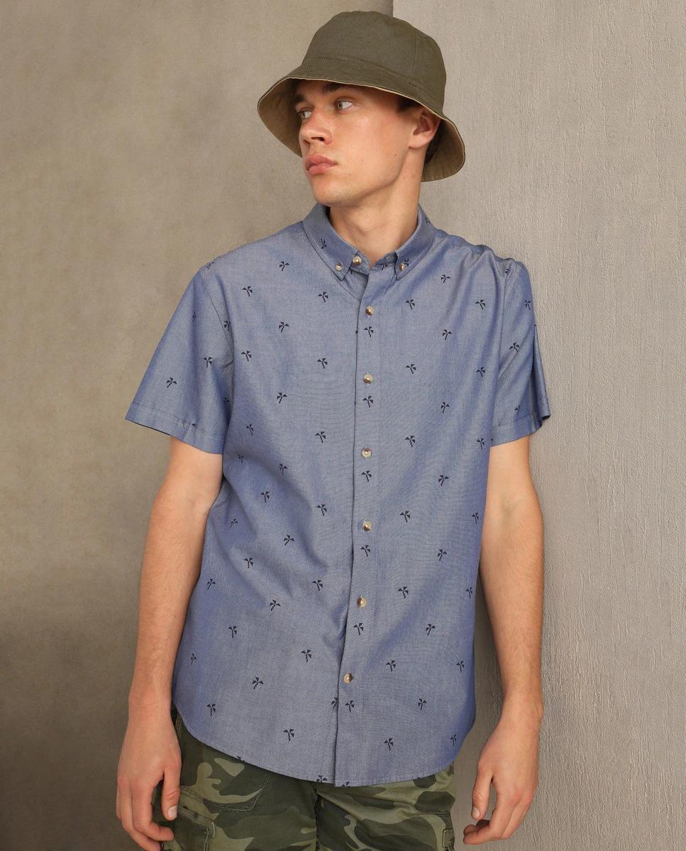 Camisa Oxford de hombre slim estampada azul