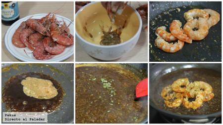 gambones en salsa de ostras paso a paso