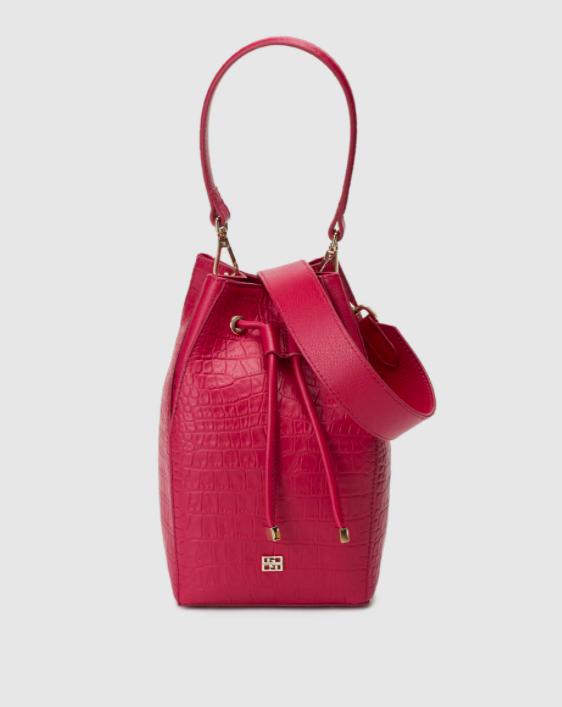 Bolso saco mini Gloria Ortiz Mars de piel en rosa con grabado coco
