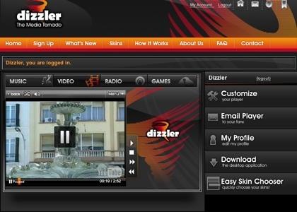 Dizzler, reproductor multimedia online bastante completo