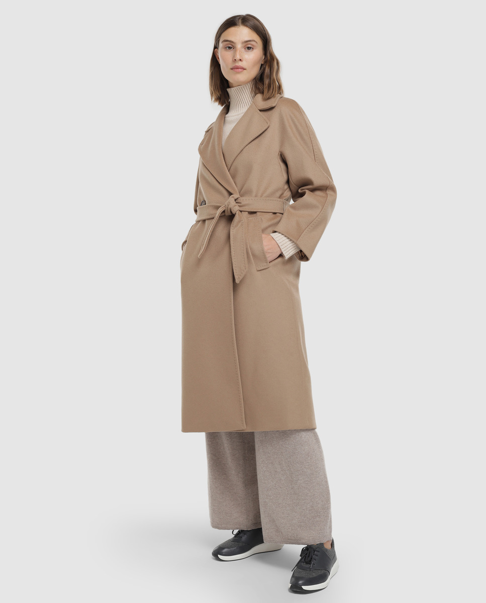 Abrigo largo de paño de mujer 100% lana virgen