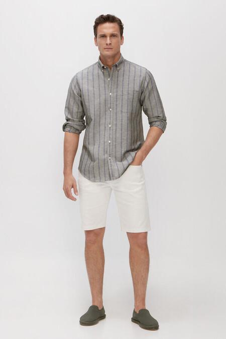 Camisa Rayas Lino Algodon