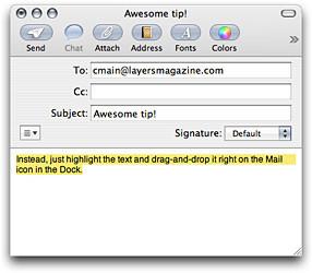 Truco: Arrastrar y soltar texto al Dock