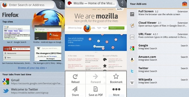 Firefox Beta 14 nativo para Android
