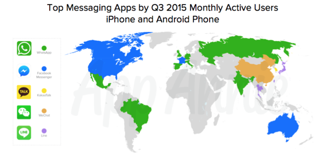 02 Top Messaging Apps Q3 2015 Monthly Active Users Mau Iphone Android