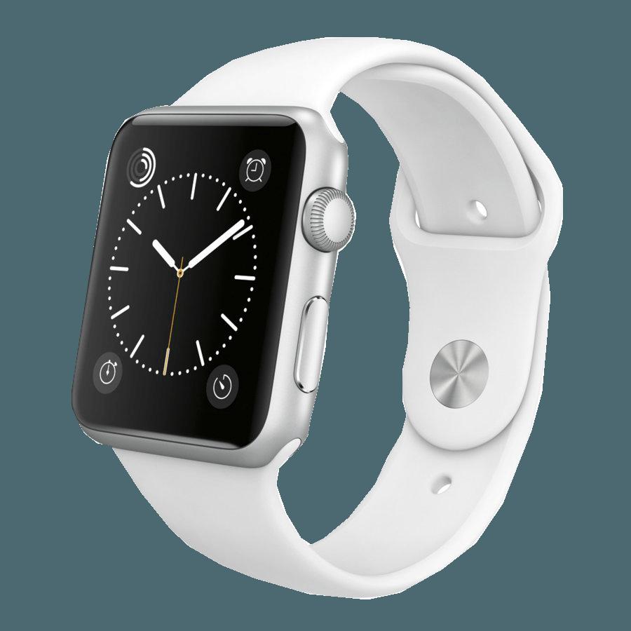 Foto de Apple Watch Sport aluminio en plata y correa deportiva blanca (1/3)