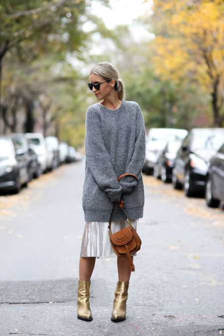 Jersey Oversize Falda Tendencia Looks Street Style 4