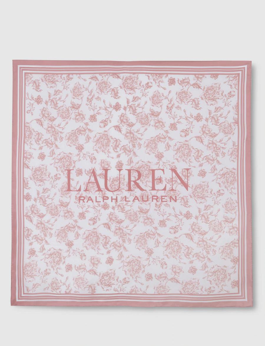 Pañuelo Lauren Ralph Lauren de seda con print de flores en rosa