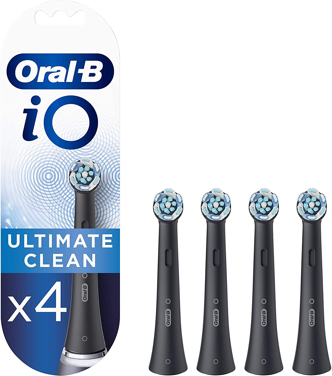 Oral-B iO Ultimate Clean Black Cabezales de recambio, Pack de 4 Unidades