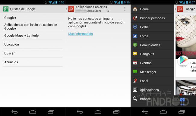 Ajustes de Google para Android