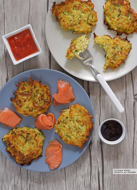 Tortitas o latkes de calabacín y patata. Receta para acompañar lo que tú quieras