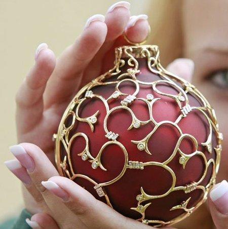 Bola Navidad oro y diamantes