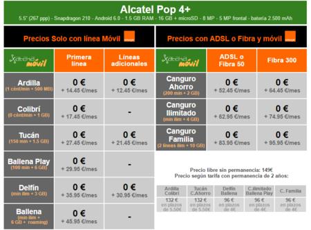Precios Alcatel Pop 4 Con Tarifas Orange