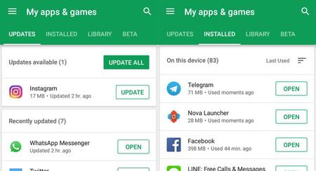 La nueva pestaña Mis apps de Google Play te deja buscar actualizaciones a mano, y más cambios