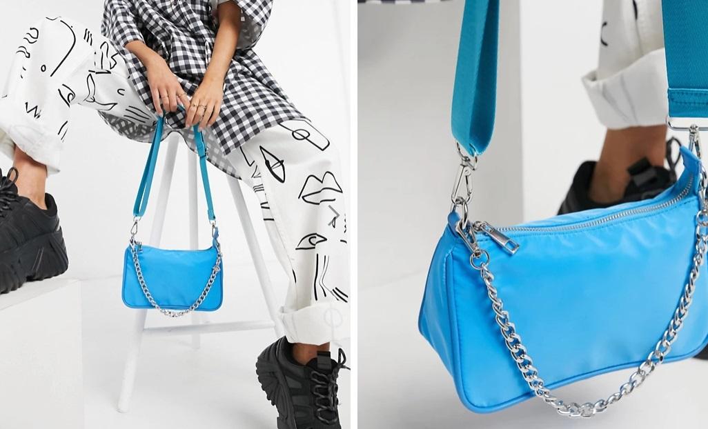 Bolso azul con cadena