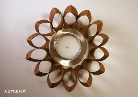 Recicladecoración: cartones de papel higiénico para decorar tus velas