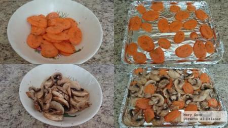 Asado de zanahoria y champiñones. Receta