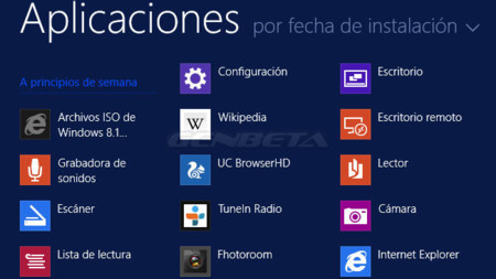 Pantalla Aplicaciones de Windows 8.1