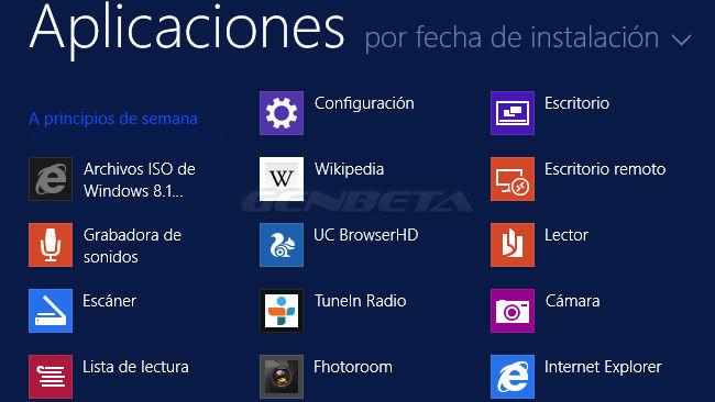 Pantalla Aplicaciones de Windows 8.1