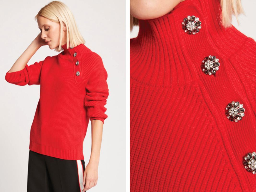 Jersey de mujer de manga larga con botones y strass