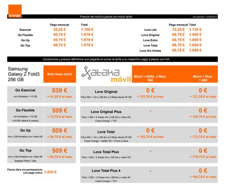 Precios Samsung Galaxy Z Fold3 256 Gb Con Pago A Plazos Y Tarifas Orange