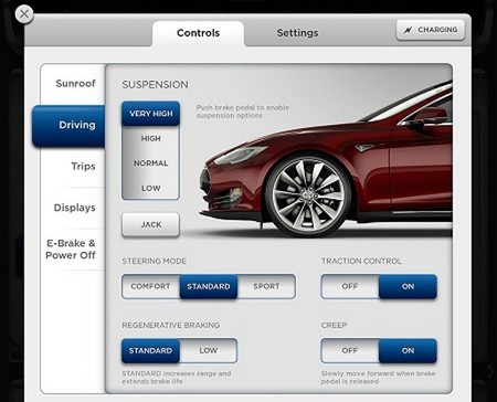 Tesla Model S Smart Air Suspension Controls