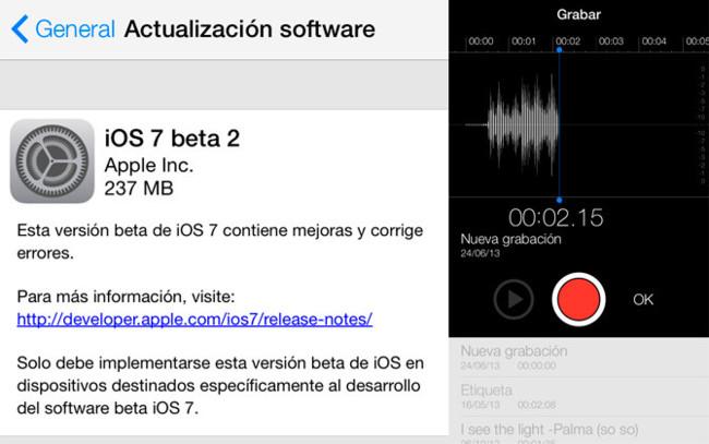 iOS 7 beta 2 y Notas de Voz