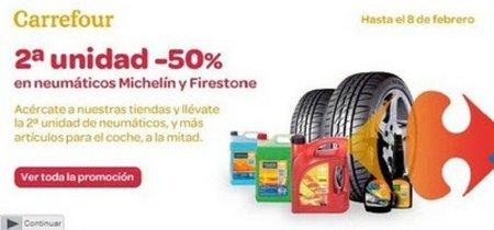 El segundo neumático Michelín o Firestone te saldrá a mitad de precio en Carrefour