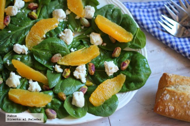 ensalada griega espinacas-queso-cabra-pistachos