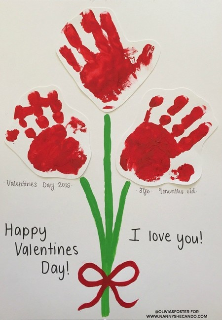 Manualidades San Valentin Tarjeta Huella Manos
