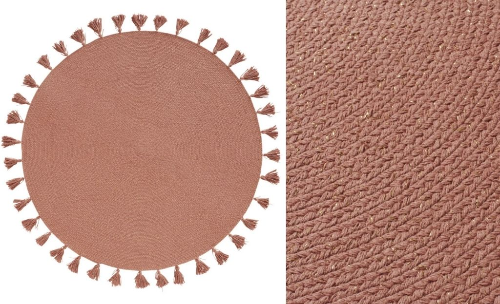 Alfombra redonda de algodón rosa con pompones D. 100