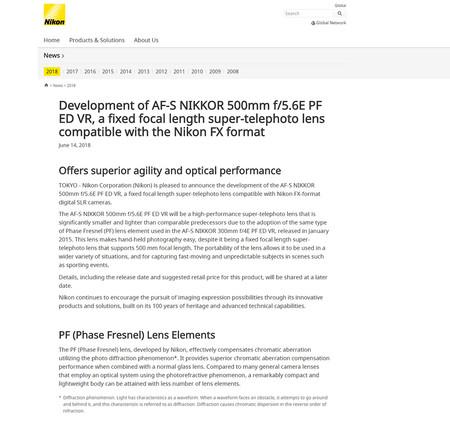 Nikon Desarrollo Af S Nikkor 500mm Web