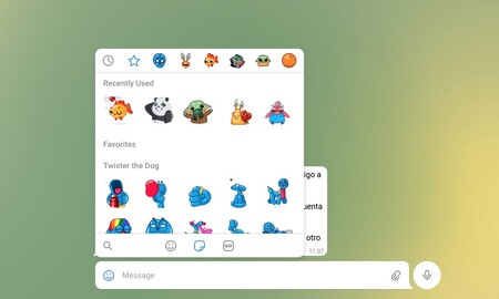 Stickers en Telegram WebK