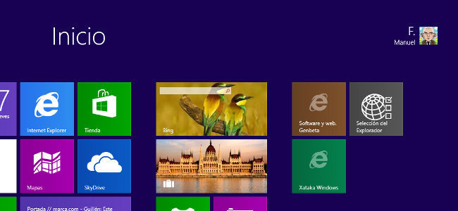 Pantalla de inicio de Windows 8