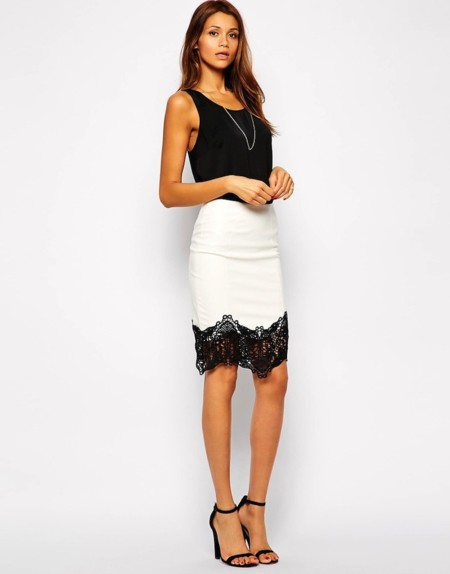 Blanco Negro Falda