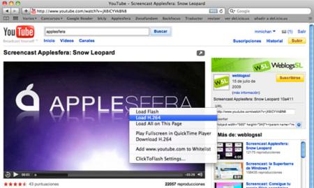 ClickToFlash, despídete de flash en Safari y empieza a disfrutar del h.264