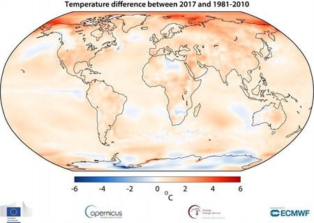 2017 fue el año más cálido (después de 2015 y 2016)