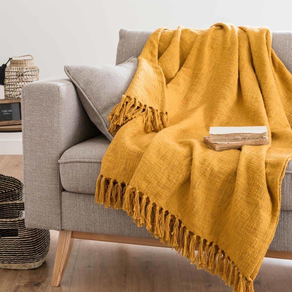 Manta de algodón amarillo azafrán 160x210