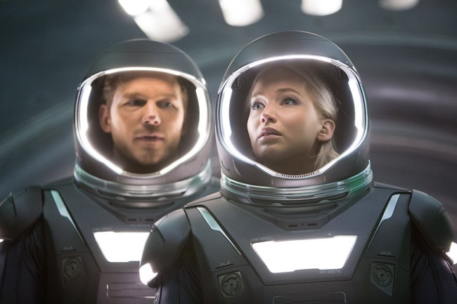 Chris Pratt y Jennifer Lawrence en Passengers