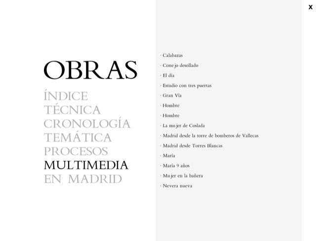 Contenido Multimedia de la aplicación de Antonio López