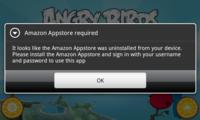 Angry Birds Rio no se puede jugar si desinstalas la Amazon App Store de Android