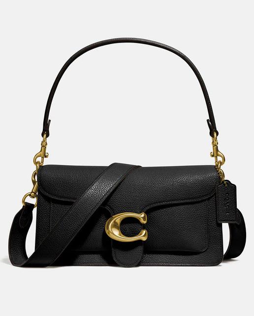 Bandolera de mujer Coach de piel en negro con solapa y broche de la marca