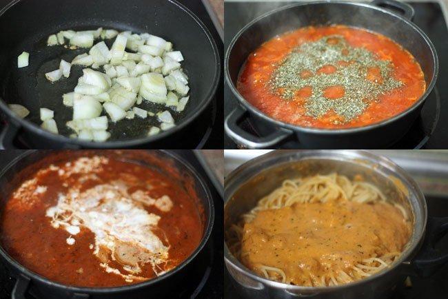 Espaguetis con crema de tomate. Pasos